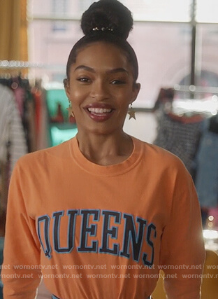 Zoey's orange Queens long sleeve tee on Grown-ish