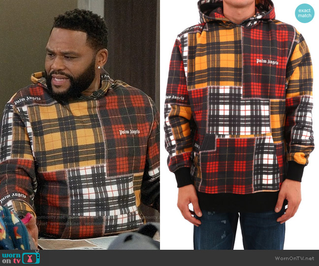 Palm Angels Patchwork Plaid Hoodie worn by Andre Johnson (Anthony Anderson) on Blackish
