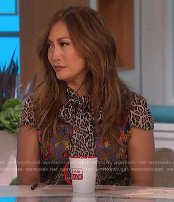 Carrie's mixed print tie neck blouse on The Talk
