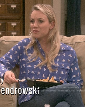 Penny's blue mushroom and rabbit print shirt on The Big Bang Theory