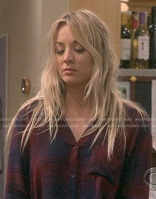 Penny's navy and burgundy plaid shirt on The Big Bang Theory