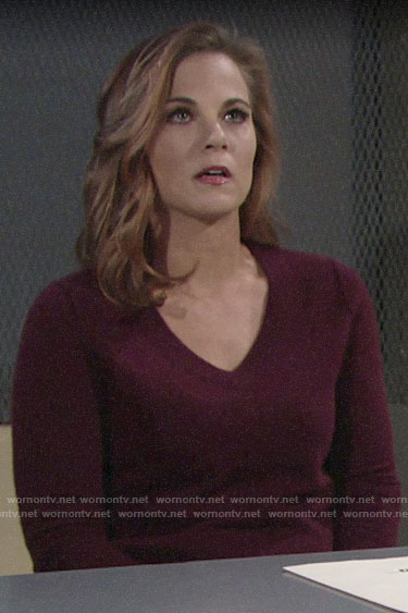 Phyllis's burgundy v-neck sweater on The Young and the Restless