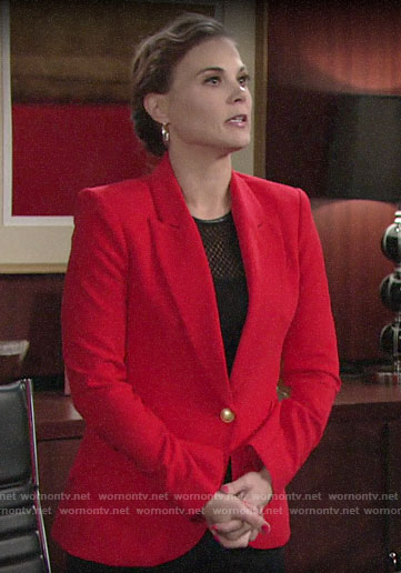 Phyllis's red blazer and two-tone hoop earrings on The Young and the Restless