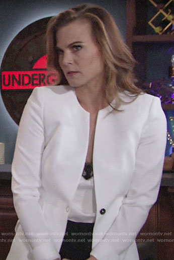 Phyllis's white blazer and lace trim top on The Young and the Restless