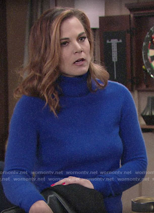 Phyllis's blue turtleneck sweater on The Young and the Restless