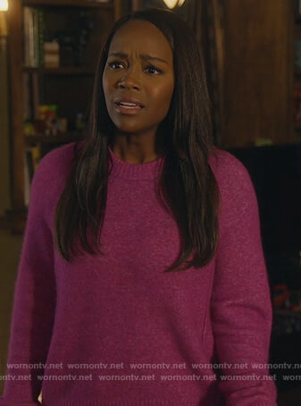 Michaela's pink crewneck sweater on How to Get Away with Murder