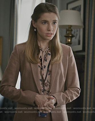 Stevie's pink floral tie neck top on Madam Secretary