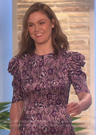 Julia Stiles's purple floral puff shoulder dress on The Talk