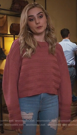 Taylor's pink striped sweater on American Housewife