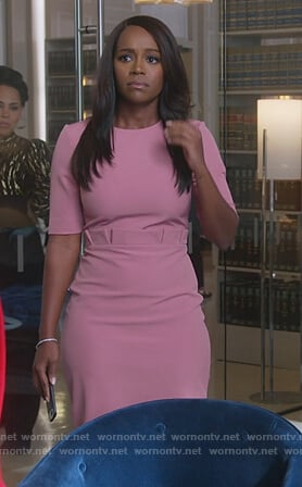 Michaela's pink ruffled waist sheath dress on How to Get Away with Murder