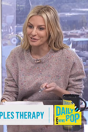 Morgan's pink speckled sweater on E! News Daily Pop