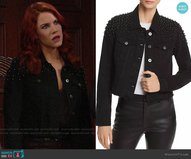 Pistola Brando Beaded Cropped Denim Jacket worn by Sally Spectra (Courtney Hope) on The Bold & the Beautiful