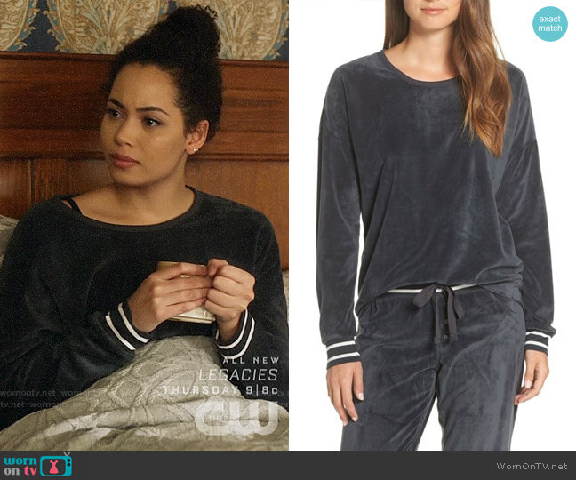 PJ Salvage Velour Pajama Top worn by Macy Vaughn (Madeleine Mantock) on Charmed
