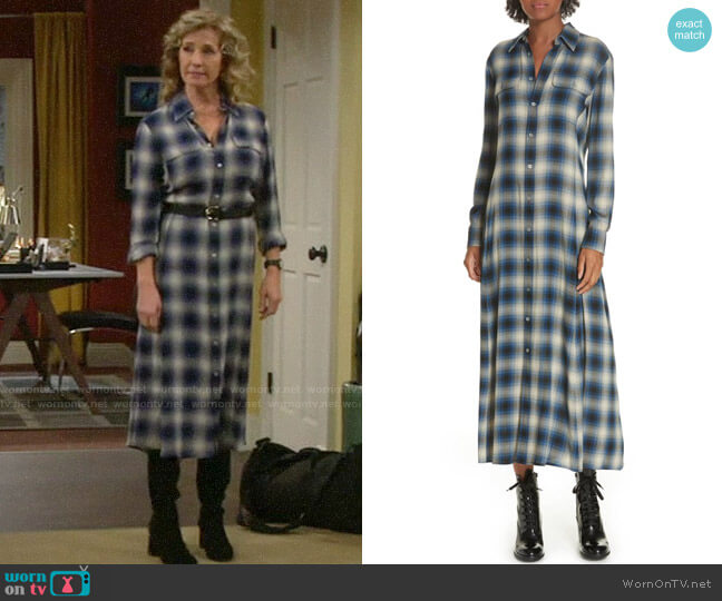 Polo Ralph Lauren Plaid Midi Shirtdress worn by Vanessa Baxter (Nancy Travis) on Last Man Standing