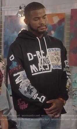 Aaron's black print hoodie on Grown-ish
