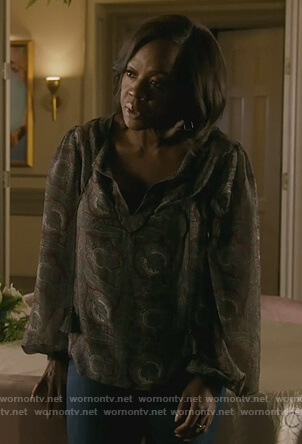Annalise's sheer paisley print blouse on How to Get Away with Murder