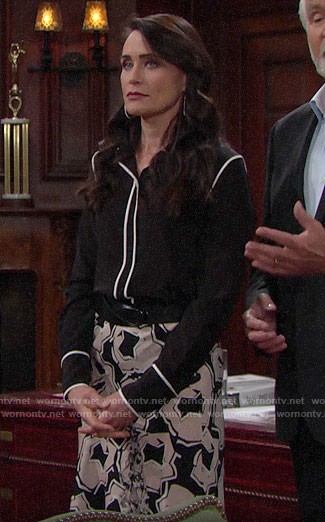 Quinn's black and white blouse and abstract print skirt on The Bold and the Beautiful
