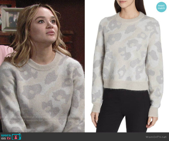 Rag & Bone Leopard Spot Sweater worn by Summer Newman (Hunter King) on The Young & the Restless