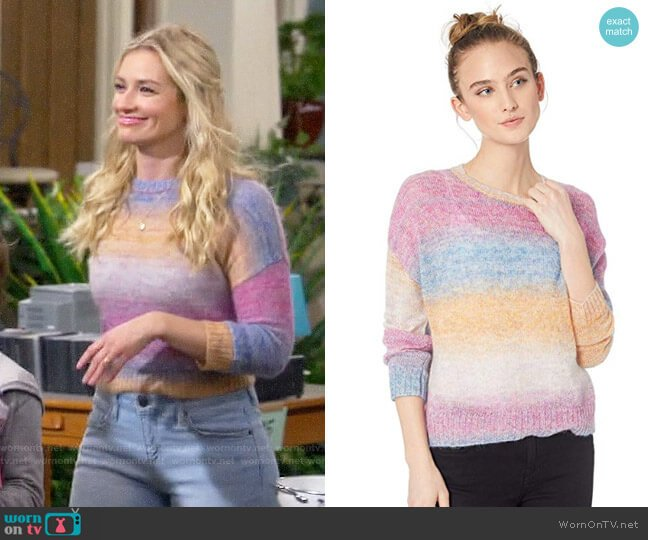 Rails Camille Sweater worn by Gemma (Beth Behrs) on The Neighborhood