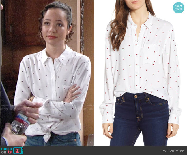 Rails Rocsi Heart Print Shirt worn by Mattie Ashby (Lexie Stevenson) on The Young & the Restless