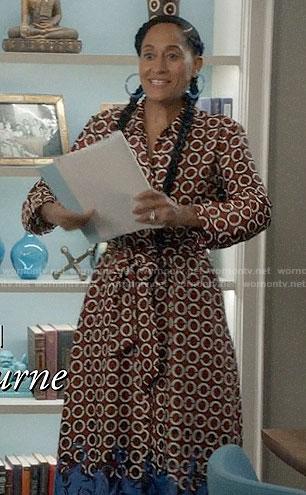 Bo's geometric print midi dress on Black-ish