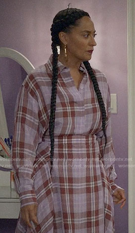Rainbow's purple plaid shirt and midi skirt on Black-ish