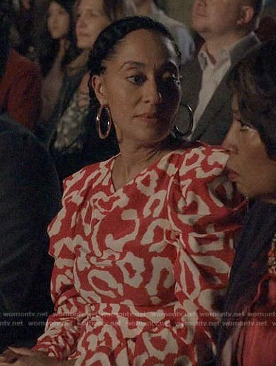 Rainbow's red leopard print puff sleeve dress on Black-ish