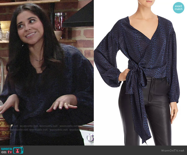 Ramy Brook Daya Leopard Silk Wrap Top worn by Mia Rosales (Noemi Gonzalez) on The Young & the Restless