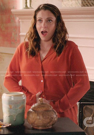 Rebecca's orange button down blouse on Crazy Ex-Girlfriend