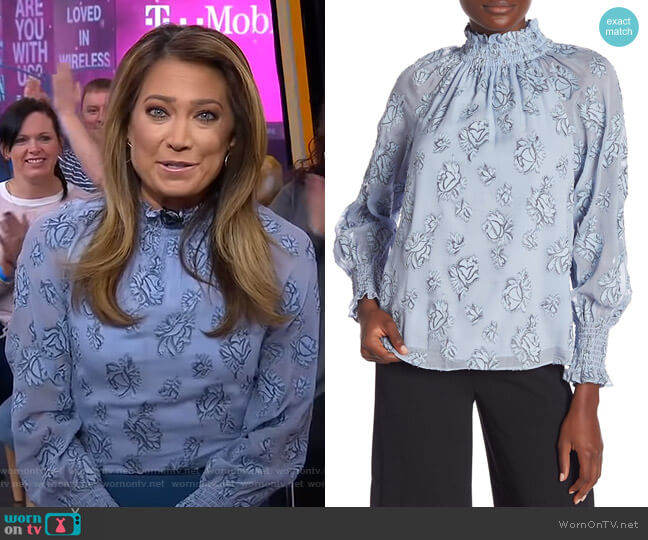 ong Sleeve Silk Blend Smocked Floral Blouse by Rebecca Taylor worn by Ginger Zee  on Good Morning America