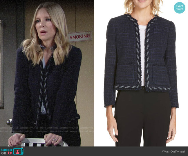Rebecca Taylor Tweed Jacket worn by Christine Blair Williams (Lauralee Bell) on The Young & the Restless