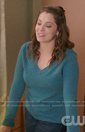 Rebecca's teal v-neck sweater on Crazy Ex-Girlfriend