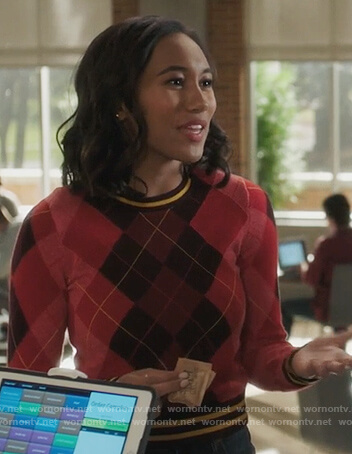 Caitlin's red argyle sweater on PLL The Perfectionists
