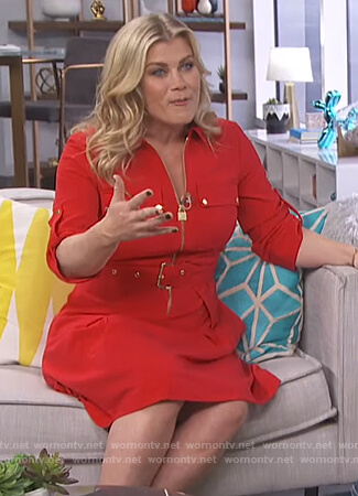 Alison Sweeney's red zip key lock dress on E! News Daily Pop