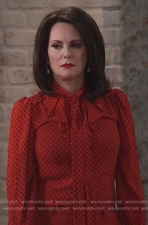 Karen's red polka dot blouse on Will and Grace