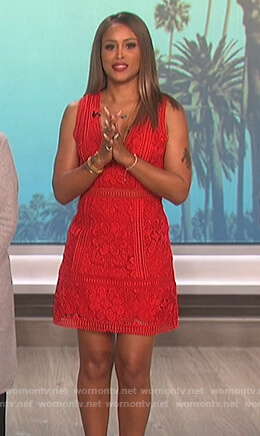 Eve's red floral lace dress on The Talk