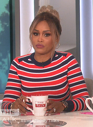 Eve's blue and red striped sweater on The Talk