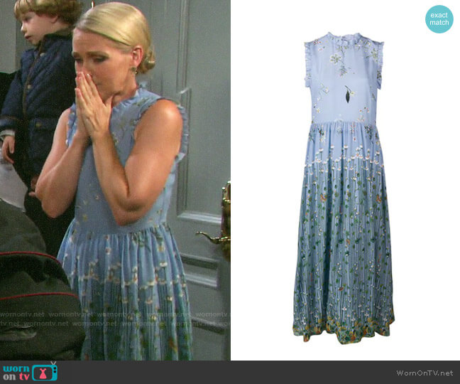 RED Valentino Floral Print Midi Dress worn by Jennifer Horton (Melissa Reeves) on Days of our Lives