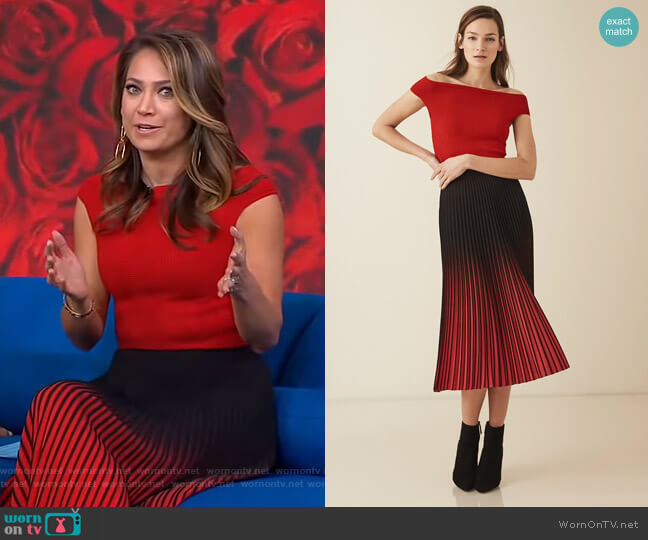Zena Top and Marlie Skirt by Reiss worn by Ginger Zee  on Good Morning America