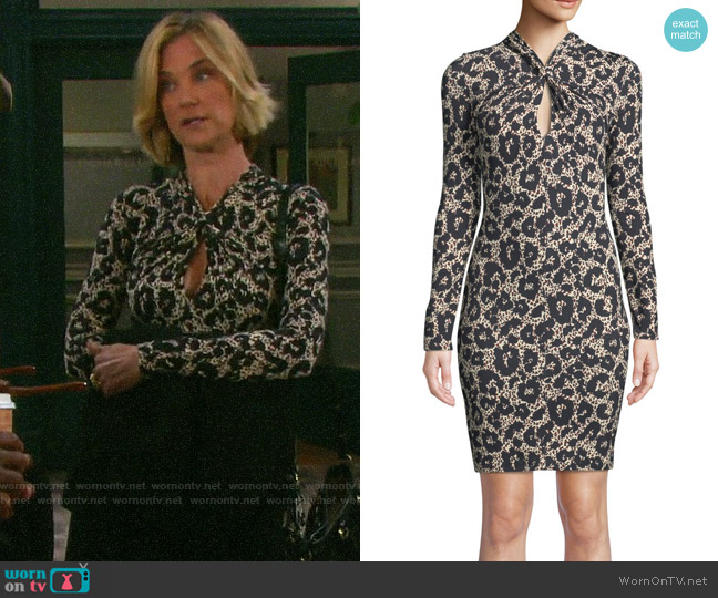 Roberto Cavalli Long-Sleeve Twist-Neck Leopard-Print Body-Con Mini Dress worn by Eve Donovan (Kassie DePaiva) on Days of our Lives
