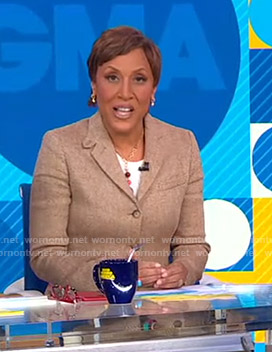 Robin's beige herringbone blazer on Good Morning America