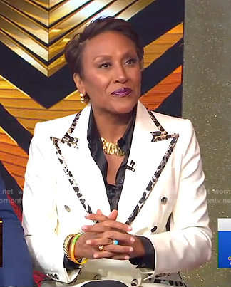 Robin's white blazer with leopard trim on Good Morning America