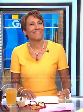 Robin's orange v-neck knit dress on Good Morning America