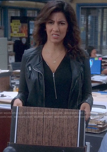 Rosa's black zip front top on Brooklyn Nine-Nine