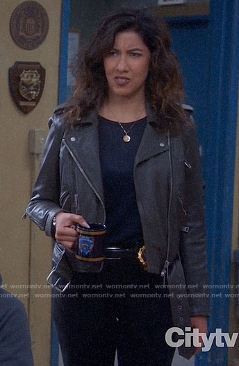 Rosa's leather jacket with d-ring detail on Brooklyn Nine-Nine
