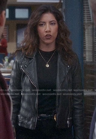 Rosa's black leather jacket with zip waist and quilted shoulders on Brooklyn Nine-Nine