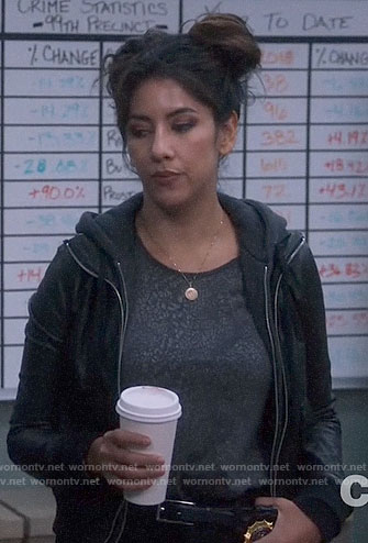 Rosa's grey leopard print tee and layered leather jacket on Brooklyn Nine-Nine