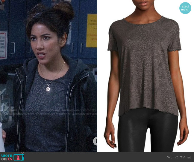 RtA Nicola Distressed Leopard Print Tee worn by Rosa Diaz (Stephanie Beatriz) on Brooklyn Nine-Nine
