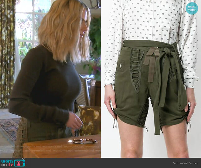 Drawstring Tie-Detail Shorts by Saint Laurent worn by Dorit Kemsley  on The Real Housewives of Beverly Hills
