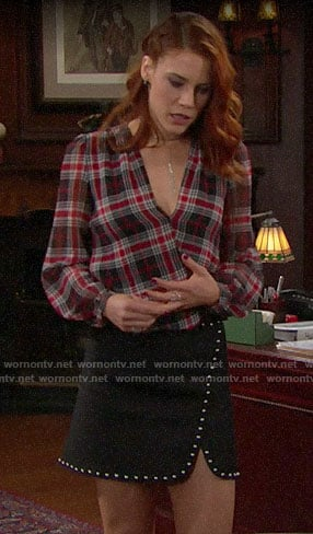 Sally's red plaid blouse and studded skirt on The Bold and the Beautiful
